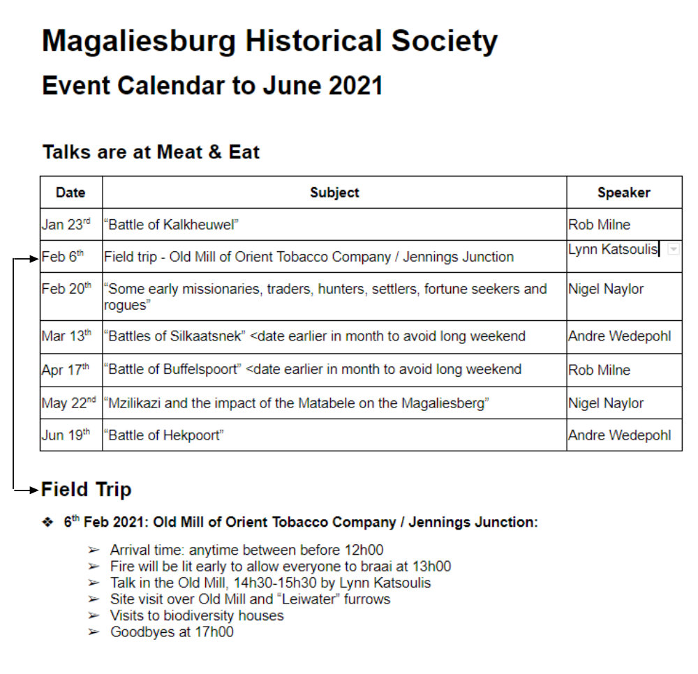 Magaliesburg Historical Society Event Calendar January to June 2021